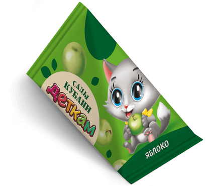 """Треугольная упаковка сока со вкусом яблоко торговой марки """"Сады Кубани"""" """"Деткам"""" с котенком"""
