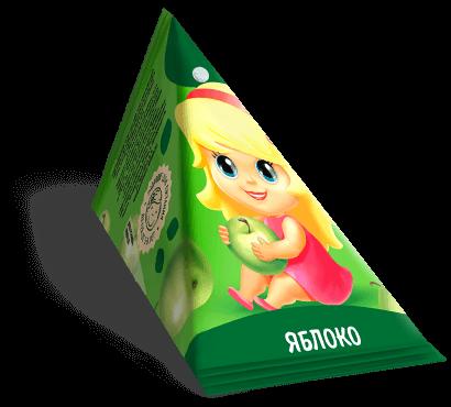 """Треугольная упаковка сока со вкусом яблоко торговой марки """"Сады Кубани"""" """"Деткам"""" с девочкой"""