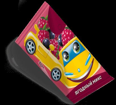 """Треугольная упаковка сока со вкусом ягодный микс торговой марки """"Сады Кубани"""" """"Деткам"""" с машинкой"""