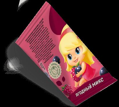 """Треугольная упаковка сока со вкусом ягодный микс торговой марки """"Сады Кубани"""" """"Деткам"""" с девочкой"""