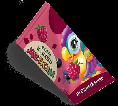 """Треугольная упаковка сока со вкусом ягодный микс торговой марки """"Сады Кубани"""" """"Деткам"""" с попугаем"""