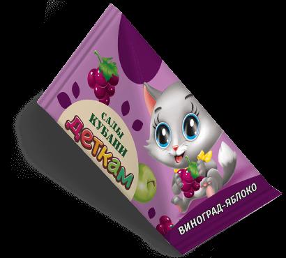 """Треугольная упаковка сока со вкусом виноград-яблоко торговой марки """"Сады Кубани"""" """"Деткам"""" с котенком"""