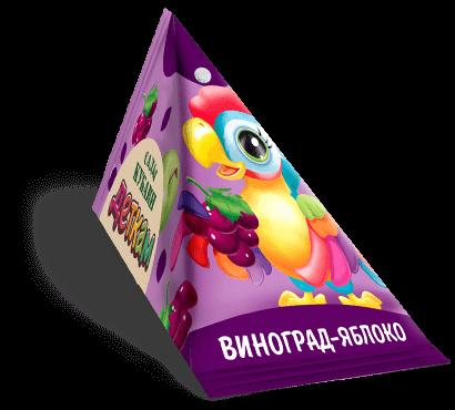 """Треугольная упаковка сока со вкусом виноград-яблоко торговой марки """"Сады Кубани"""" """"Деткам"""" с попугаем"""