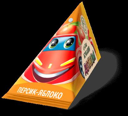 """Треугольная упаковка сока со вкусом персик-яблоко торговой марки """"Сады Кубани"""" """"Деткам"""" с машинкой"""