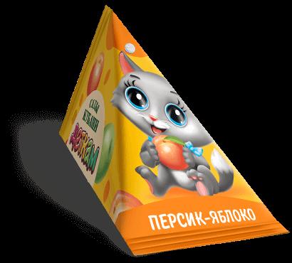 """Треугольная упаковка сока со вкусом персик-яблоко торговой марки """"Сады Кубани"""" """"Деткам"""" с котенком"""