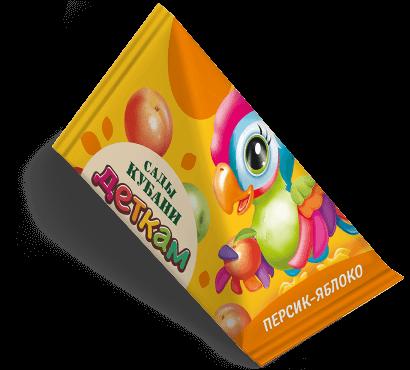 """Треугольная упаковка сока со вкусом персик-яблоко торговой марки """"Сады Кубани"""" """"Деткам"""" с попугаем"""