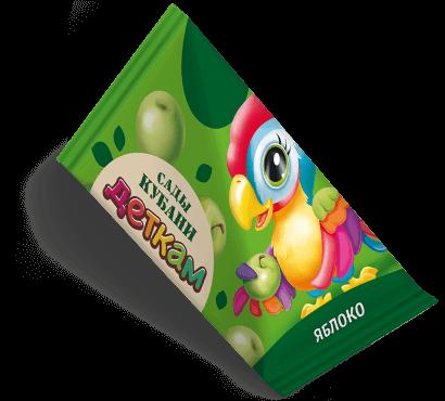 """Треугольная упаковка сока со вкусом яблоко торговой марки """"Сады Кубани"""" """"Деткам"""" с попугаем"""