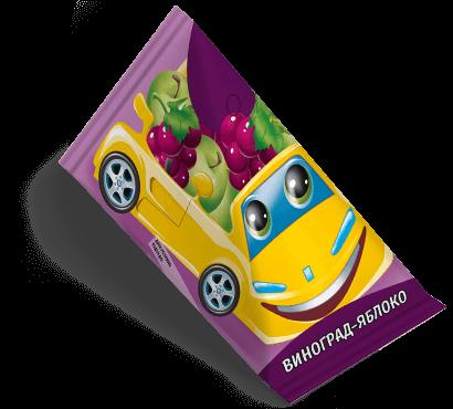"""Треугольная упаковка сока со вкусом виноград-яблоко торговой марки """"Сады Кубани"""" """"Деткам"""" с машинкой"""