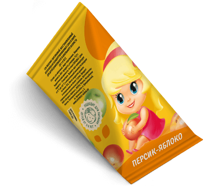 """Треугольная упаковка сока со вкусом персик-яблоко торговой марки """"Сады Кубани"""" """"Деткам"""" с девочкой"""