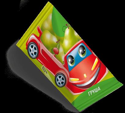 """Треугольная упаковка сока со вкусом груши торговой марки """"Сады Кубани"""" """"Деткам"""" с машинкой"""