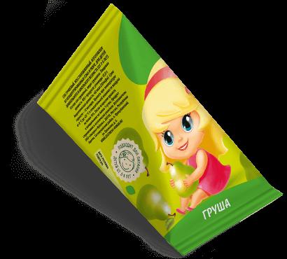 """Треугольная упаковка сока со вкусом груши торговой марки """"Сады Кубани"""" """"Деткам"""" с девочкой"""