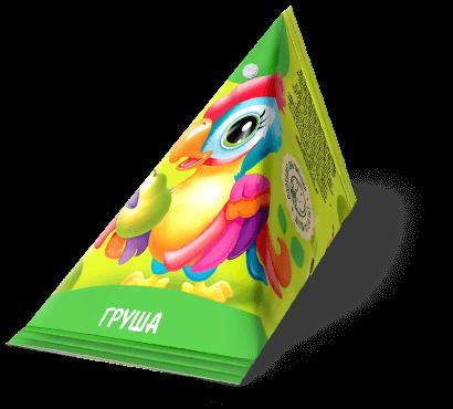 """Треугольная упаковка сока со вкусом груши торговой марки """"Сады Кубани"""" """"Деткам"""" с попугаем"""